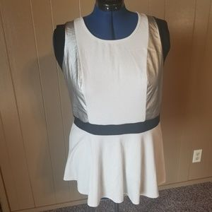 White Peplum Top with Silver and Black Accents
